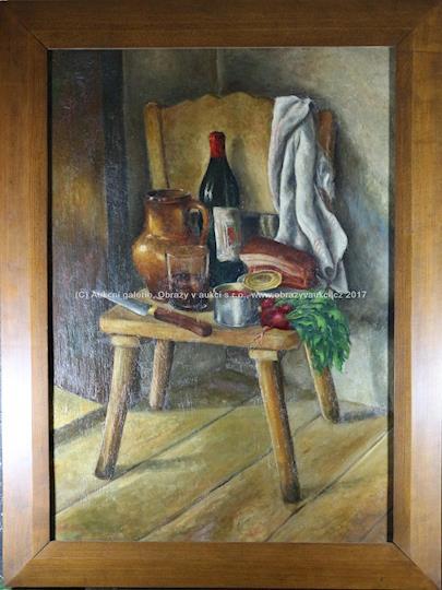 Zátiší s lahví vína